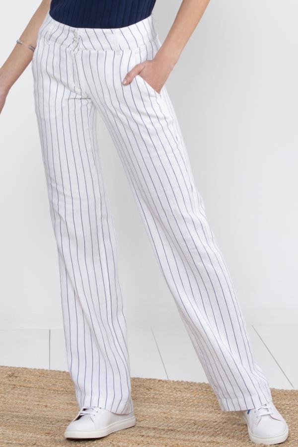 Pantalon Lino A Rayas Azules Y Blancas Mujer Escales