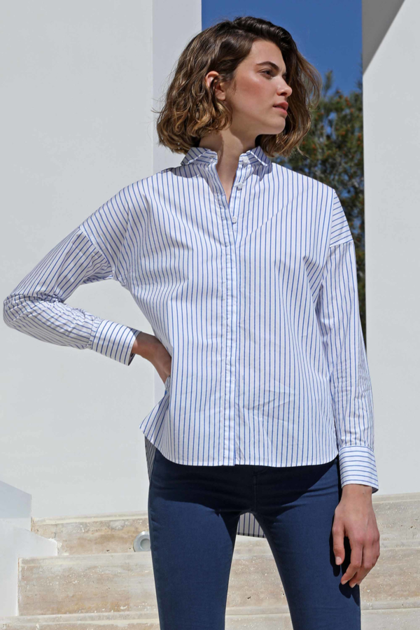 Camicia popeline a righe Officier