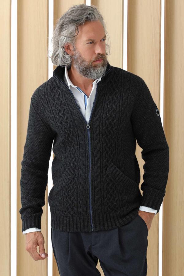 Cardigan tricô trançado lã