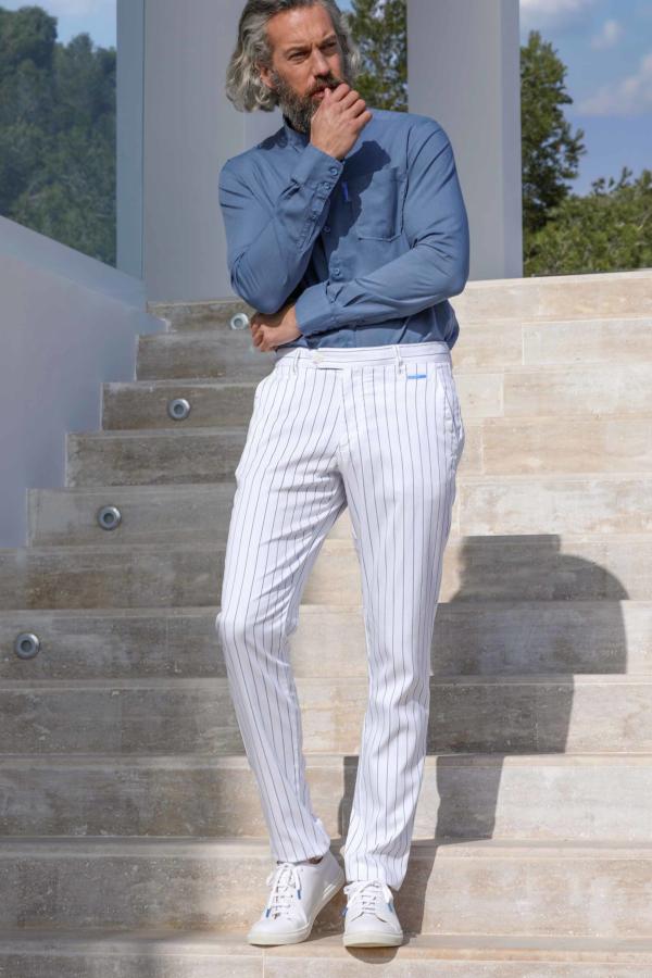 Pantalon Tencel Rayé