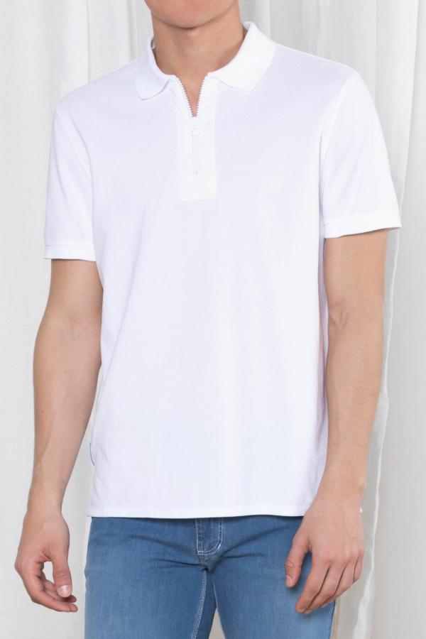 Zip-up Piqué Polo Shirt