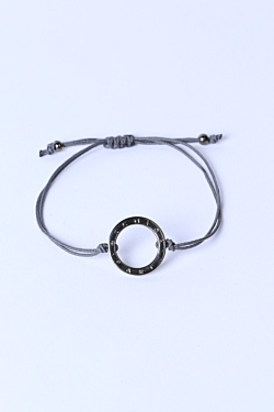Braid bracelet with Palladium ESCALES ring Woman Man