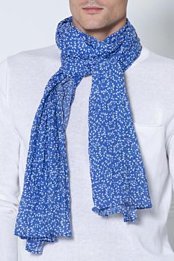 foulard bleu feuillage blanc en voile de coton