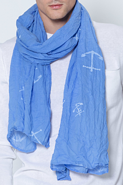 light blue cotton scarf printed in yacht club design
