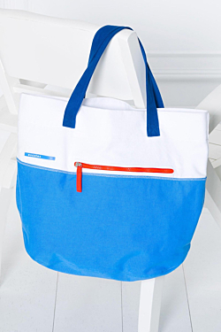 saint remy white blue cotton bag with orange zipper