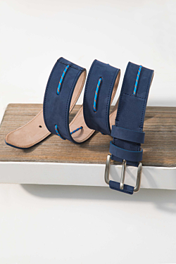original leather belt with navy string detail