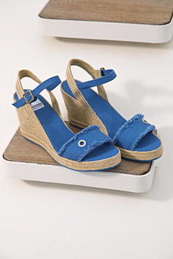 sky blue handmade cotton wedge sandals