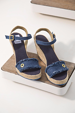 blue jeans handmade cotton wedge sandals