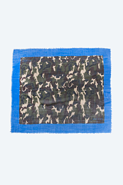 Silk and wool square scarf Camouflage and blue Woman Man