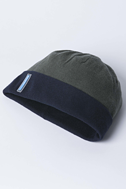 Reversible beanie hat in Cotton-Cashmere Navy blue and green Woman Man