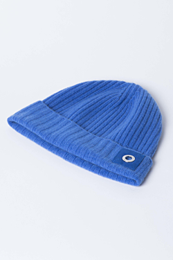 100% Cashmere ribbed beanie hat Blue Woman Man