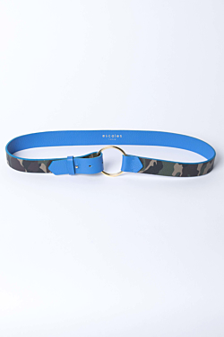 Leather belt with golden buckle Camouflage pattern and blue Woman