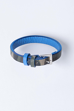 Leather bracelet Camouflage pattern and blue Woman Man