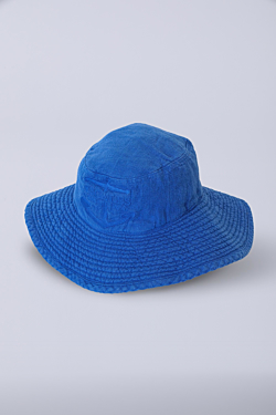 blue linen hat