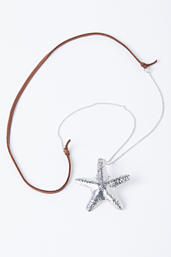rhodium sea stars necklace with leather detail