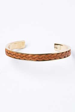 Yellow Gold Bracelet with Natural Leather Braid.
