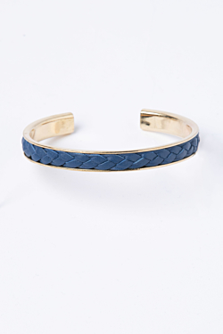 Yellow Gold Bracelet with Sky Blue Leather Braid.