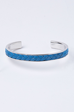 sky blue rhodium plated and leather bracelet