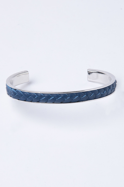 Rhodium Plated Bracelet with a Navy Blue Leather Braid
