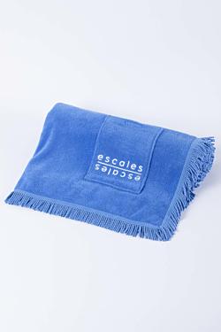 Drap de plage bleu avec franges et poche intégrée