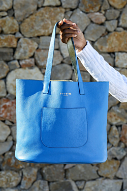 blue leaher bag