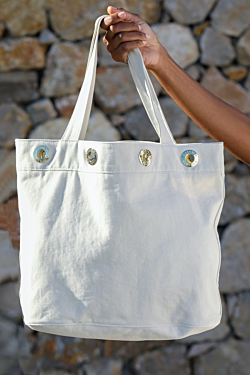 beige canvas bag
