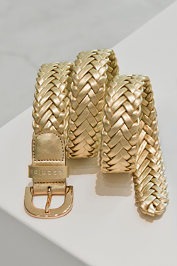 golden braided leather belt