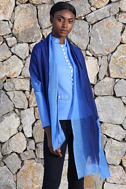 navy blue silk wool scarf