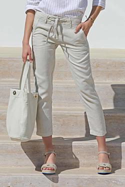 pantalón lino azul