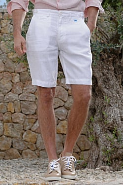 Bermuda Lino Hombre, color Blanco