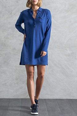 Blue knit dress for woman