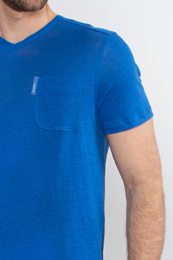 Linen Blue Men´s T-shirt with V neck