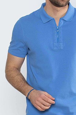 blue zip piqué mens polo