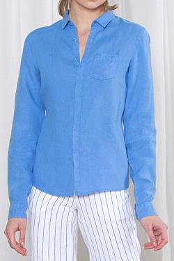 Blue buttoned Linen Shirt for Woman