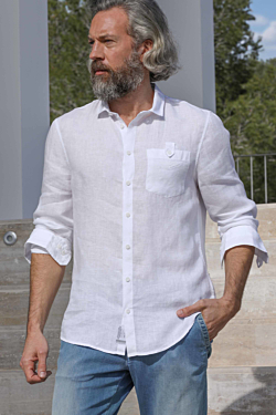 chemise lin blanc homme