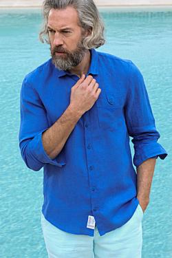 chemises lin bleues