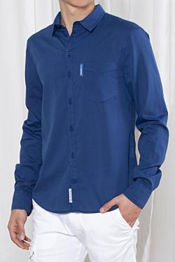 camisa tencel hombre azul marino