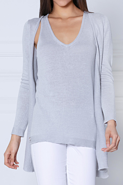 grey linen cardigan for women