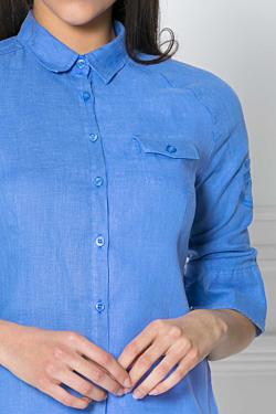 camisa de lino con manga raglan bordado escales en un brazo y bolsillo en el pecho
