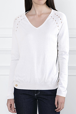V-neck Cotton-Cashmere sweater with small holes details on the shoulders White Woman