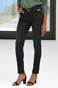 Cotton-Elasthane black jeans with golden metallic details and the ESCALES blue Leather label Woman