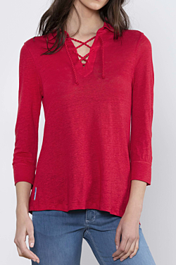 Red Linen Polo for Woman