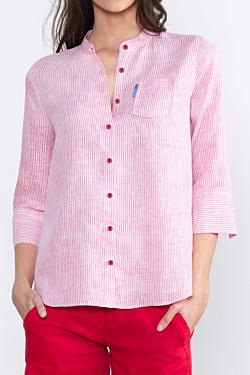 Camisa a Rayas en Lino color Rojo