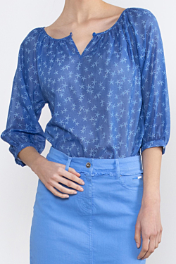 navy pattern print in cotton voile fabric, for women
