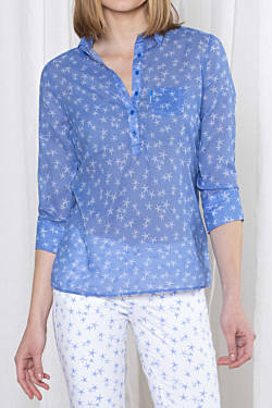Cotton voile Shirt with blue ESCALES Starfish pattern