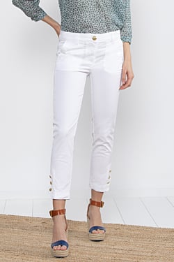 White cotton ankle trousers for women