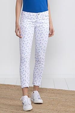 pantalón tobillero blanco con estampado de estrellas de mar