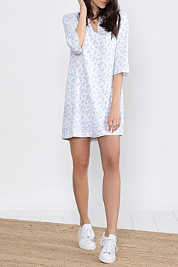 linen dress with ESCALES Starfish pattern