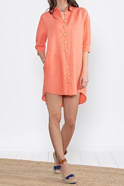 orange linen shirt dress