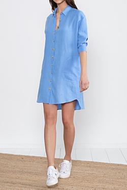 linen shirt dress light blue